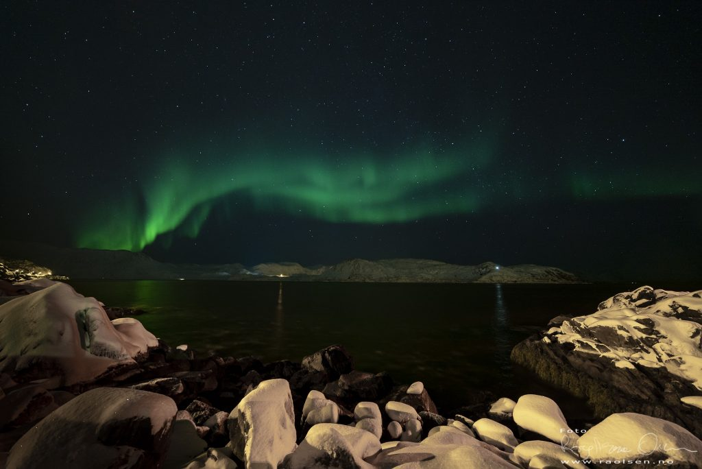 Nordlyset var vakker over Skipsfjorden.